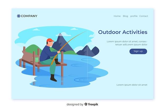 Outdoor activities landing page template Free Vector