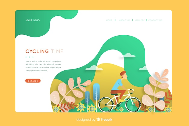 Outdoor activities landing page Free Vector