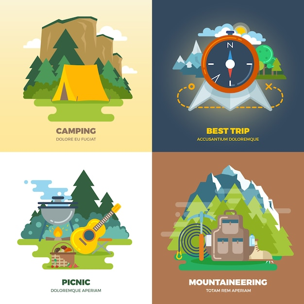 Outdoor adventure camp flat background concept set. camping and picnic, mountaineering and trip, vector illustration Free Vector