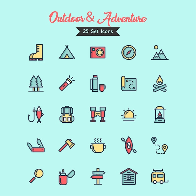 Outdoor and adventure icon vector filled outline style Premium Vector