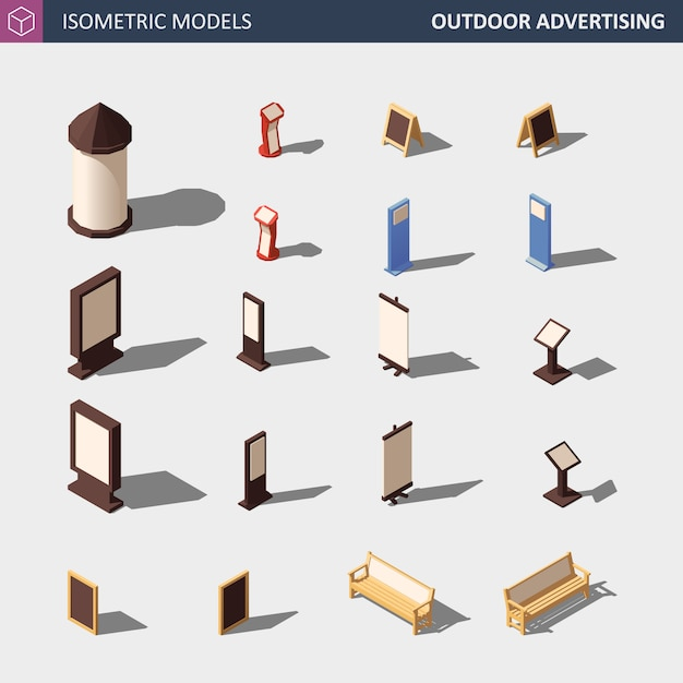 Outdoor advertising media set - isometric illustration. Premium Vector