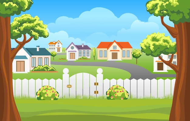 Outdoor backyard illustration cartoon Premium Vector