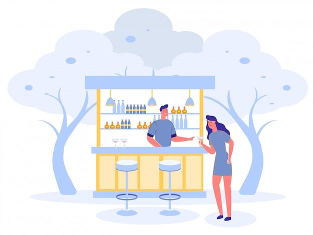 Открытый бар с девушкой угощает напитками Premium векторы