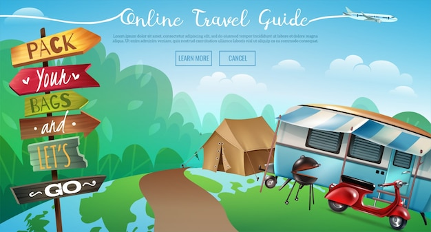 Outdoor camping travel banner Free Vector
