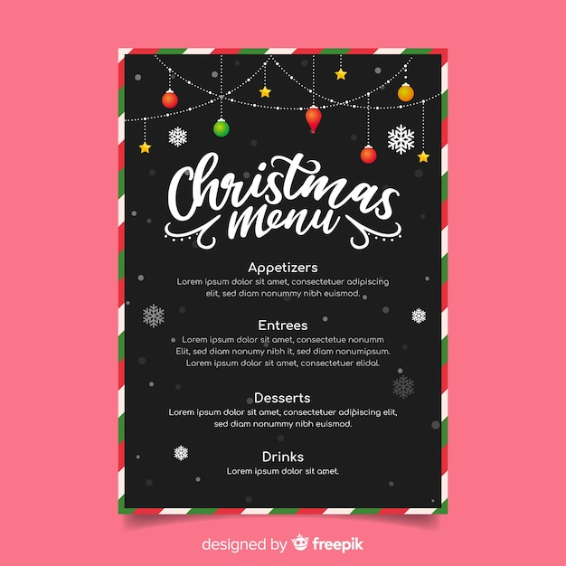 Outdoor christmas string lights menu template Free Vector