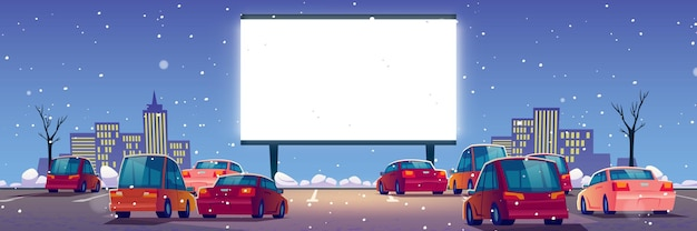 Летний кинотеатр, автомобильный кинотеатр с машинами на открытой парковке зимой. Бесплатные векторы