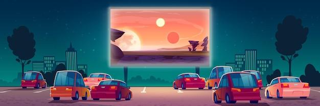 Cinema all'aperto, cinema drive-in con auto nel parcheggio all'aperto. Vettore gratuito