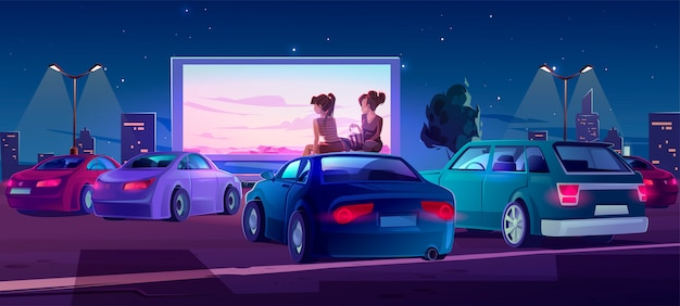 Outdoor cinema, open air movie theater with cars Free Vector