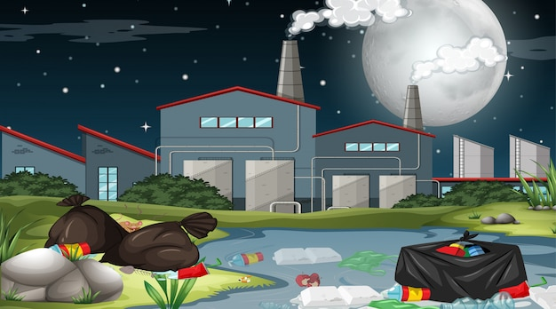 Outdoor factory scene with rubbish Free Vector