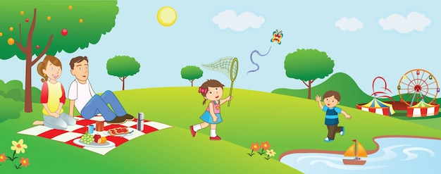 Outdoor family picnic cartoon illustration Vector ...