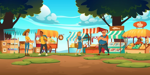 Outdoor farm market with stalls, vendors and clients at summer day. fair booths, wooden kiosks with ecological products Free Vector