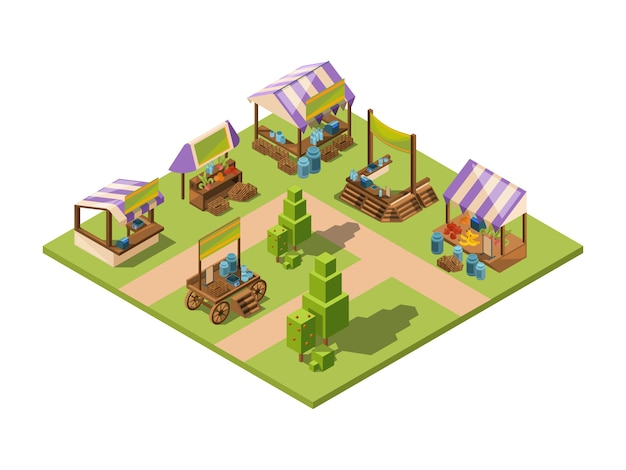 Outdoor food market, isometric local farm grocery marketplaces with vegetables fruits meat and fish farmers country store vector Premium Vector