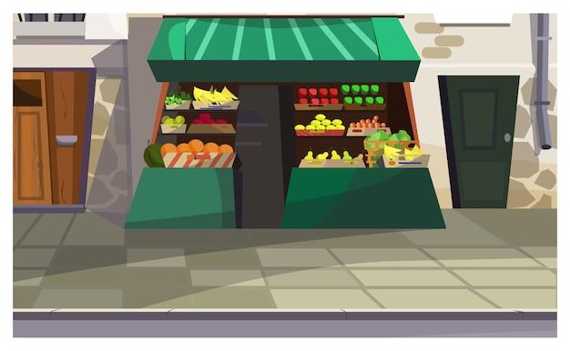 Outdoor fruit counter on street illustration Free Vector