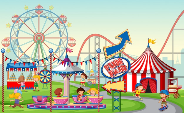 An outdoor funfair scene or background with kids Free Vector