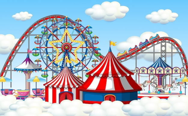 An outdoor funfair scene in clouds Free Vector
