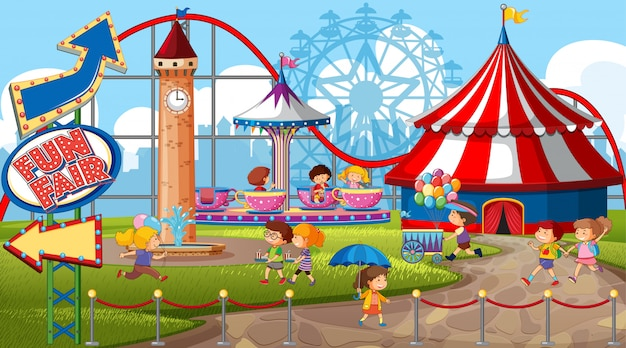 An outdoor funfair scene with many children Free Vector