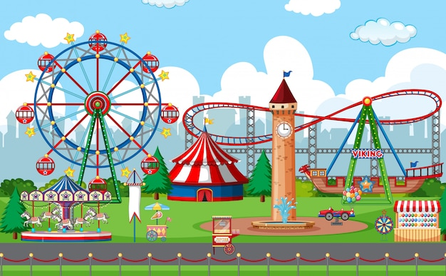 An outdoor funfair scene Premium Vector