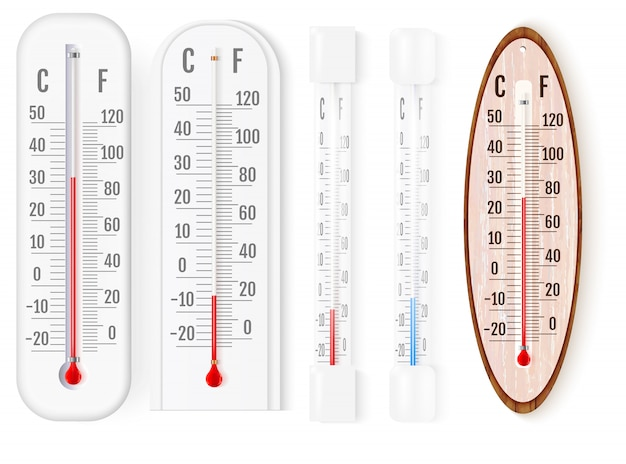 Outdoor and indoor fahrenheit and celsius thermometers Premium Vector
