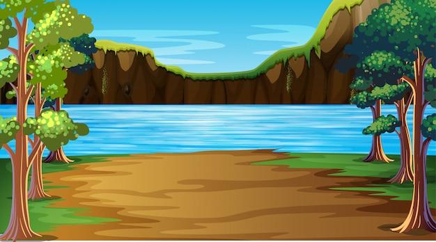 屋外湖の自然シーンの背景 無料ベクター