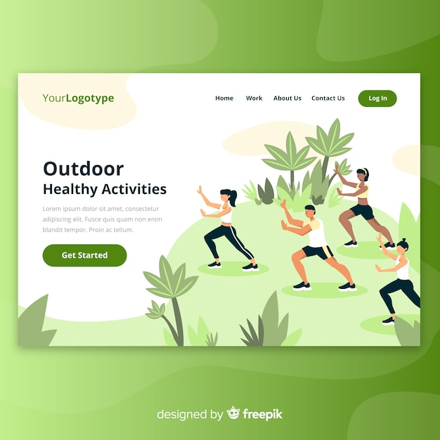 Outdoor landing page Free Vector