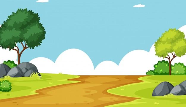 Открытый пейзаж фоновой сцены Бесплатные векторы