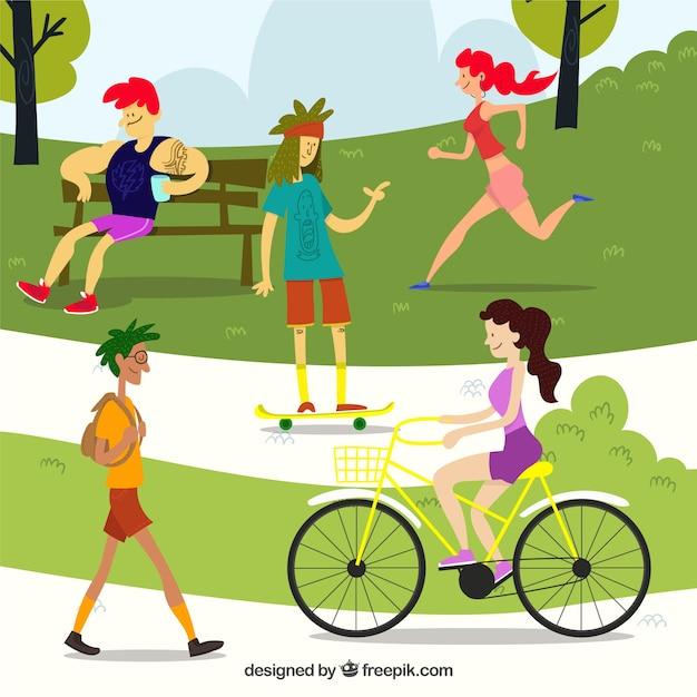 Outdoor leisure activities concept with flat design Free Vector