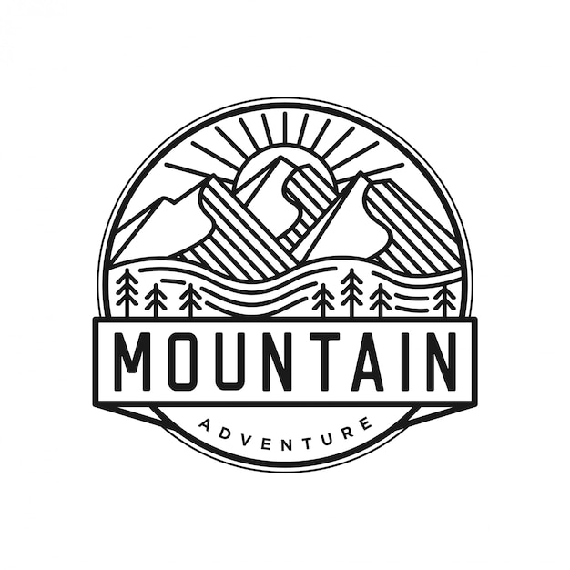 Outdoor logo with lineart style Premium Vector