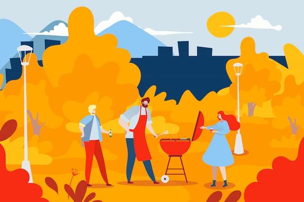 屋外国立森林公園バーベキュー友達会議、都市の秋の庭の漫画イラスト。バーベキュー食品キャラクター。 Premiumベクター