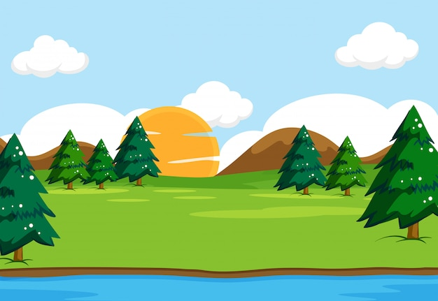 Outdoor nature landscape scene illustration Free Vector
