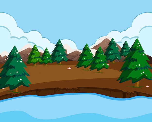An outdoor nature scene Free Vector