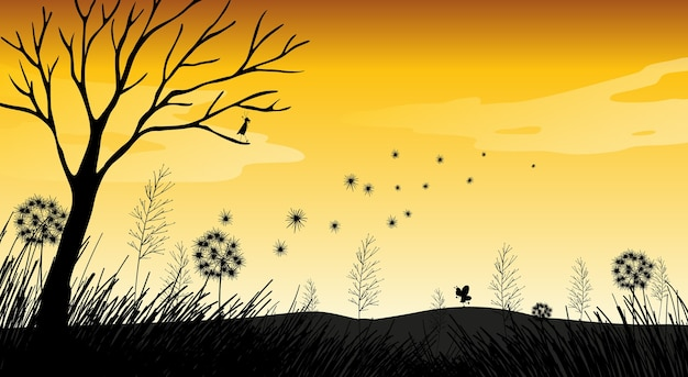 Outdoor nature silhouette sunset scene Free Vector