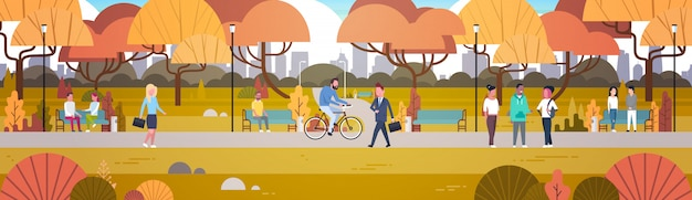 Outdoor park activities, people relaxing in nature walking riding bicycle and communicating horizontal Premium Vector