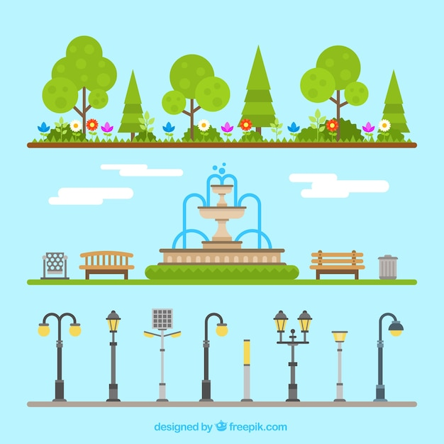 Outdoor park elements Free Vector
