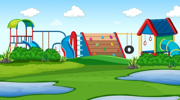 Outdoor park playground scene Free Vector