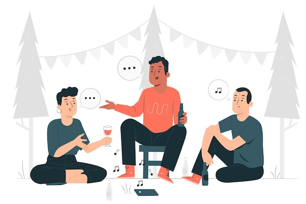 Иллюстрация концепции вечеринки на открытом воздухе Бесплатные векторы