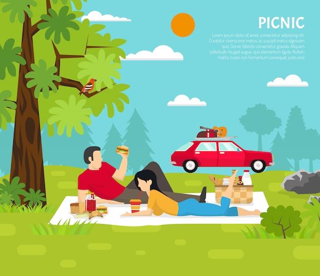 Outdoor picnic vector illustration Free Vector