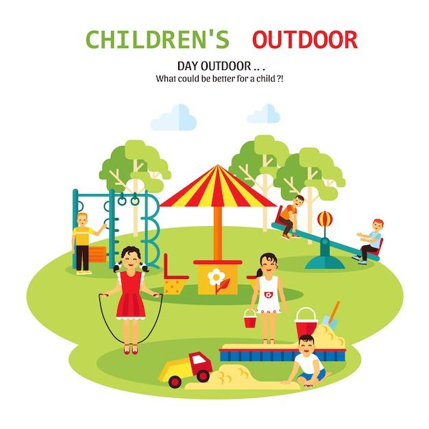 Outdoor playground flat illustration Free Vector