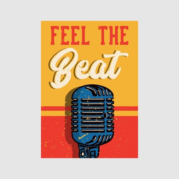 Outdoor poster design feel the beat vintage illustration Premium Vector