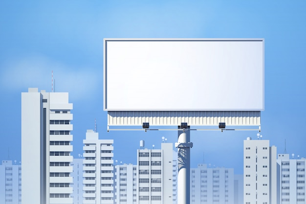 Outdoor realistic 3d billboard on city skyline background Free Vector