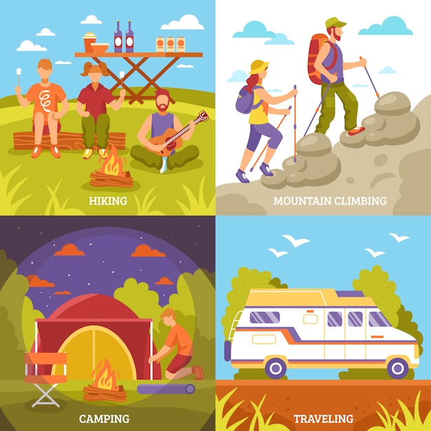 Outdoor recreation compositions set Free Vector