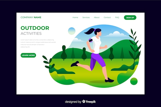 Outdoor running landing page Free Vector