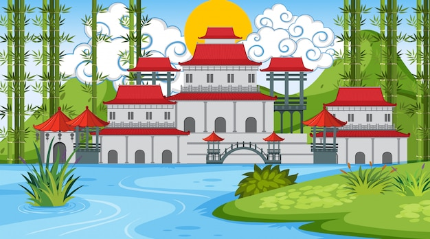 An outdoor scene with asian castle Premium Vector