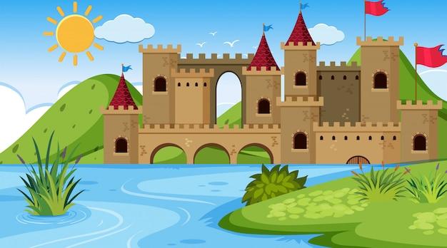 An outdoor scene with castle Premium Vector