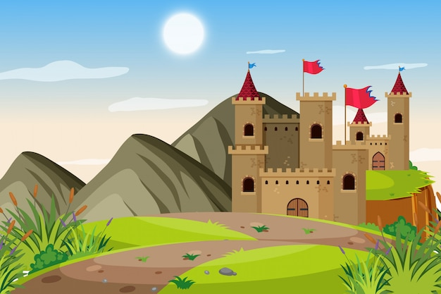 An outdoor scene with castle Premium Vector