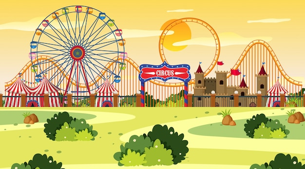 An outdoor scene with circus Premium Vector