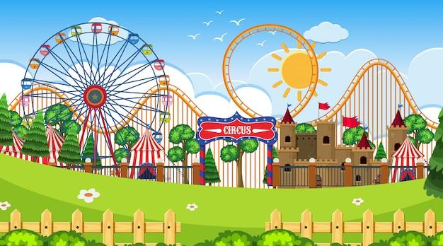 An outdoor scene with circus Premium Vector
