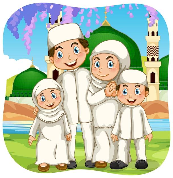 Сцена на открытом воздухе с персонажем мультфильма мусульманской семьи Premium векторы