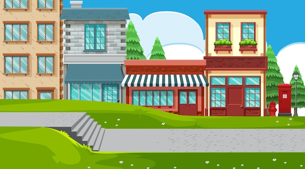 An outdoor scene with shops Premium Vector