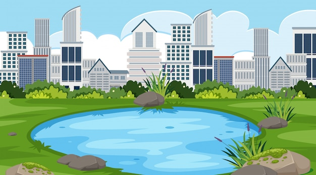 An outdoor scene with skyscraper Premium Vector