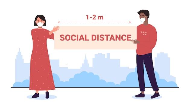 Социальная дистанция на открытом воздухе, персонажи мультфильмов мужчина женщина в масках дистанцируются, держат знамя Premium векторы